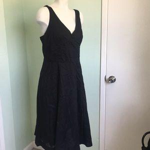 Gap V-Neck Black A Line Cotton Dress Large